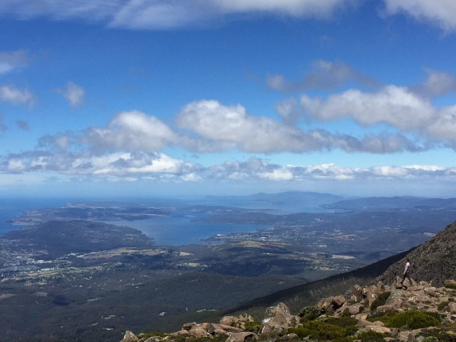 Mount Wellington has phenomenal views of varied landscape and you can look down on Hobart. This view I like because of the man you can see in the photo, showing the vastness - which can even exist in a small place like Tassie