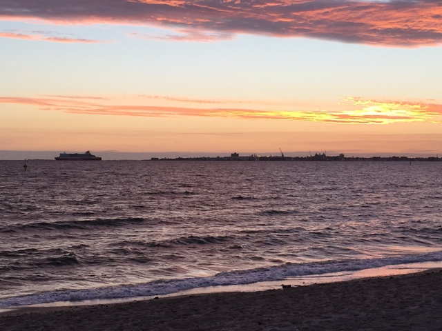 That's the ferry departing for Tasmania in the sunset