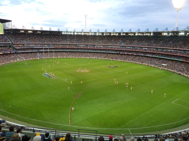 The Melbourne Cricket Ground (MCG) is also home to Australian Football. The pitch is huge - much bigger than a soccer or rugby pitch. It's